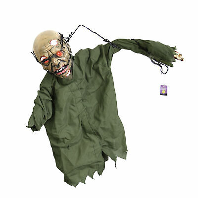 Halloween Haunters Animated Hanging Scary Barbwire Reaper Zombie Prop Decoration
