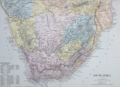 1887 Antique Map South Africa Cape Colony Orange Free State Transvaal Natal