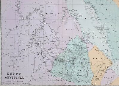 1887 Antique Map Egypt Abyssinia Soudan Afar Gondar Sennar Khartoom