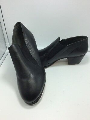 Capezio CG08 Adult Black Leather Slipin Character Tap Shoes Size 8 W