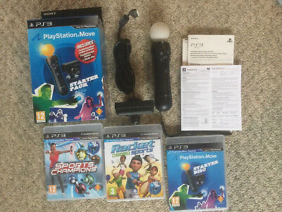 Sony Ps3 / Ps4 Move Motion Controller, Eye Camera, Starter Disc & Two Ps3 Games