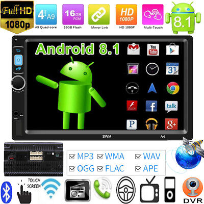7'' 2DIN Android8.1 Car Stereo MP5 Player GPS Nav WiFi Bluetooth FM Radio AUX-IN