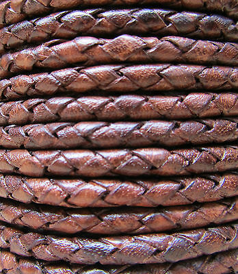 Braided Leather Cord 4mm  Genuine Real Leather Antique Brown 4ft length