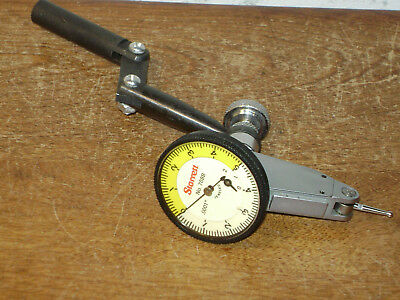 STARRETT .0001 Inch DIAL INDICATOR NO 708B w/ GOOSENECK-DOG LEG INDICATOR HOLDER