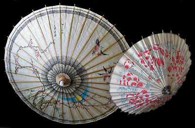 2x Antique Vintage Japanese Paper and Bamboo Parasol Umbrella 1890s & 1960s