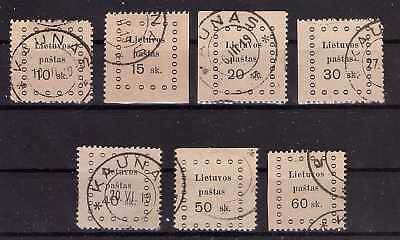 Lithuania 1919 Kaunas second issue - Mi 13-19. Complete set. Used.