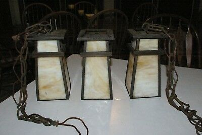3 Fabulous Antique Arts & Crafts Mission Slag Glass 4 panel shades