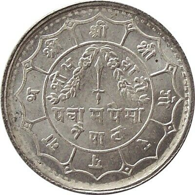 Mint Nepal 50-Paisa Silver Coin 1948 King Tribhuvan Shah Km# 718 Unc