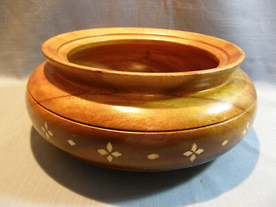 Large Vintage Hand Turned Wood Bowl With Inlay, Great Patina