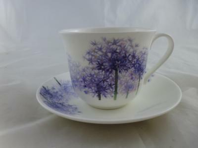 Roy Kirkham Fine Bone China Large Cup & Saucer, Alliums / Purple Flowers