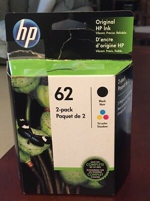 HP Genuine Original Ink 62 2-pack Black and Tricolor ComboBRAND NEW