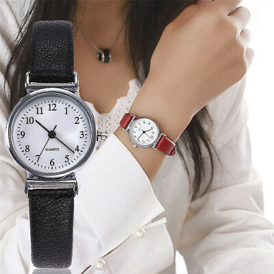 Women's Leather Band Watches Casual Quartz Analog Round Dial Wrist Watch Gifts