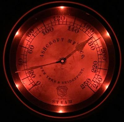 Lighted Vintage Steam Gauge Wall Clock-Fair Shipping!