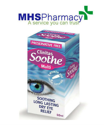 Clinitas Soothe Multi Preservative Free Soothing Long Lasting Dry Eye Drops 10ml