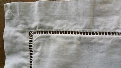 Two vintage French fine linen ladderwork large button up square pillowcases