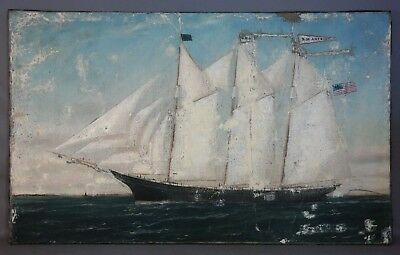 19thC Antique D.M. ANTHONY Old FRIGATE Nautical SEASCAPE Oil PAINTING