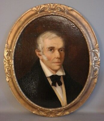 19thC Pre CIVIL WAR Antique VICTORIAN GENTLEMAN PORTRAIT Old OIL PAINTING Frame