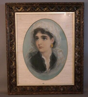19thC Antique VICTORIAN LADY Old GYPSY GIRL Pastel PORTRAIT PAINTING Wood FRAME