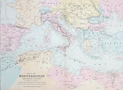 1887 Antique Map Mediterranean Algeria Tripoli Italy Turkey Bulgaria Servia