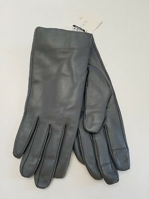Women's Classic Leather Touch Screen Insulated Gloves Color Gray Size XS/S NWT