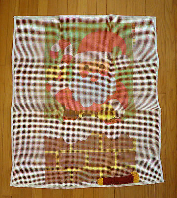 Vintage Large Christmas Latch Hook Rug CANVAS ONLY Santa Claus Chimney Design