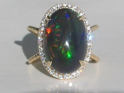 Gorgeous Certified Rare Natural Giant 8.9 Ct Black Fire Opal & Diamond 14K Ring!