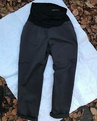 Sz 12 NWT Charcoal Gap Maternity Stretch Best Girlfriend Pants with Full Panel