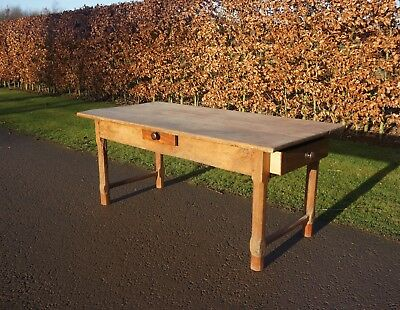 French 19Thc Provincial Antique Fruitwood Farmhouse Country Kitchen Dining Table