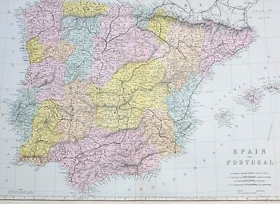 1887 Antique Map Spain & Portugal Balearic Isles Andalusia Murcia Aragon