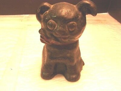 Vintage Hubley Cast Iron Black Puppy Dog With A Red Bow Says Ssgn Pat