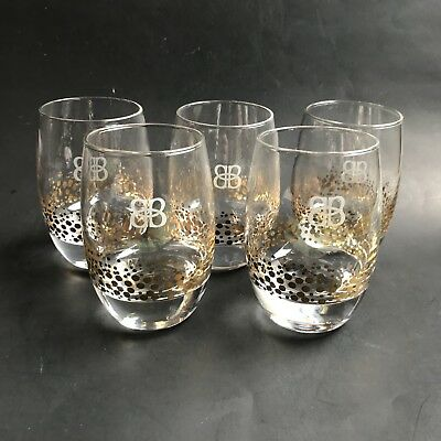 5 Bailey's Gold Dots Confetti Rocks Bar Drink Glasses Round Heavy Base Etched BB