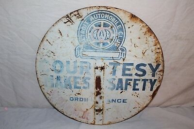 """Rare Vintage 1930's Detroit Auto Club Gas Oil 2 Sided 18"""" Metal Sign"""