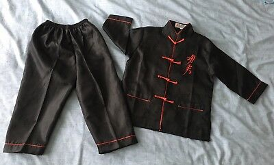 Boys Girls Traditional Chinese/Kung Fu outfit, Black, Age 3-5 Year, Ex Condition
