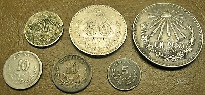 SIX (6) MEXICO SILVER COINS, 5 CENTAVOS TO UN PESO, 1884 Ho TO 1940-M