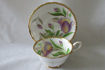 Vintage Tuscan Bone China Cup & Saucer, Tulip Pattern, Artist Signed - 1940s