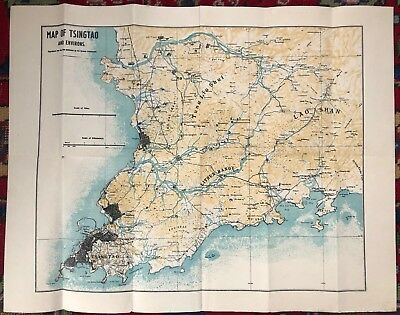 1930s Map TSINGTAO China German Colony QINGDAO WW2 souvenir