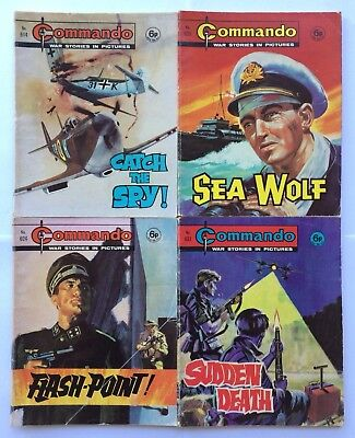 4 x COMMANDO COMICS War Stories in Pictures from 1972, #614, #623, #624, #631