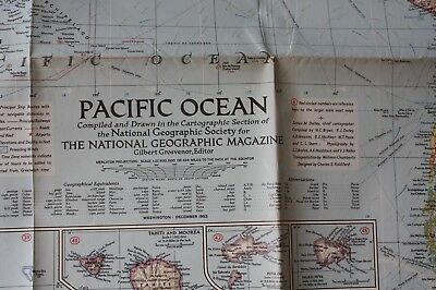 1952 PACIFIC OCEAN - NATIONAL GEOGRAPHIC MAP - 94 cm x 74 cm