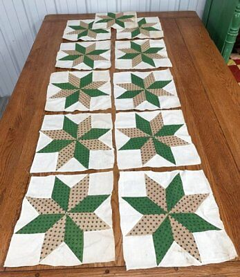 Early c 1850-60s Star QUILT Blocks Green Antique