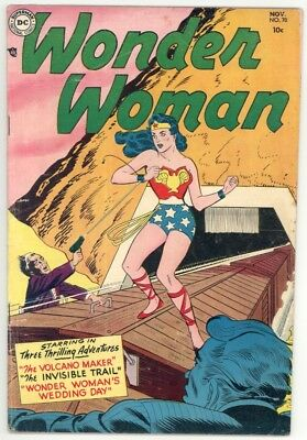 Wonder Woman #70 Vg/f 5.0 Rare! Train Cover. Angle Man Appearance 1954