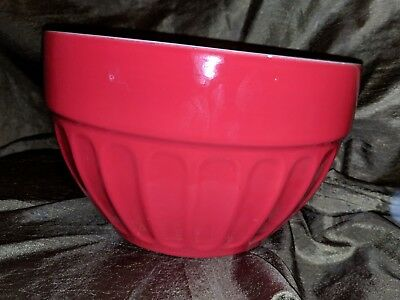 """Crate and Barrel 9"""" Red Serving/mixing Bowl Vintage-look Great condition"""