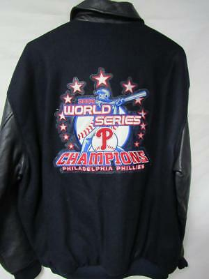 2387db0f15fcd Phillies Mens Large 2008 World Series Champions Wool and Leather Jacket B1  167