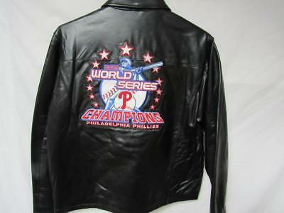 24ba030c1af16 Phillies Mens M thru 2XL 2008 World Series Champions All Leather Jacket B1  105