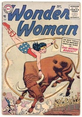 Wonder Woman #74 Vg- 3.5 Scarce! H.g. Peter Art 1955
