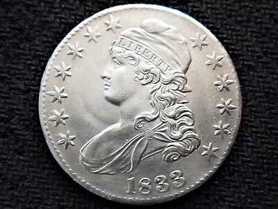 A 1833 Capped Bust Silver Half Dollar Beautiful BU Example!! WOW!!