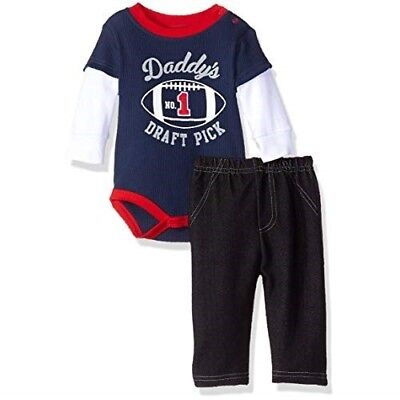 BON BEBE Baby Boy's DADDY'S DRAFT PICK Football SHIRT & BLUE JEANS Outfit 0-3 Mo
