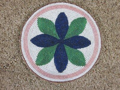 Vintage -Navajo - Native American Indian - Colorful - Leather Beaded - Hot Plate