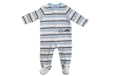 LITTLE ME Baby Boy's Striped Cars 1 Piece Footed Pajamas Sleeper Gray 9 Months