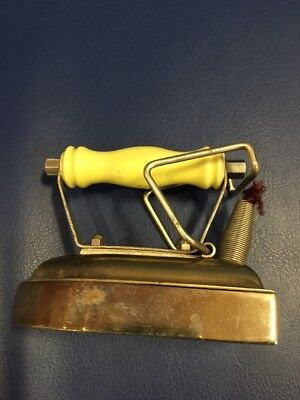 Small Metal Iron With Yellow China Handle  Antique Cute