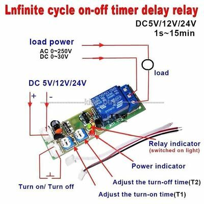 DC 5V 12V 24V Infinite Cycle Delay Timing Timer Relay ON OFF Switch Loop Module